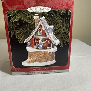 NIB 1998 HALLMARK SANTA'S MERRY WORKSHOP WINDUP MU